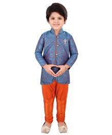 Needybee Traditional Embroidered Jacquard Sherwani With Brooch & Ethnic Dress Set - Blue & Orange