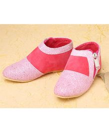 LCL Short Zip Boots With Glittery Shine - Pink