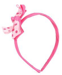 Wow Kiddos Polka Dot Bow Knot Hairband - Pink & White