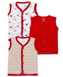 Babyhug Front Open Vest Pack Of 3 - Red