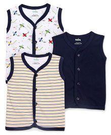 Babyhug Front Open Vest Pack Of 3 - Navy Blue