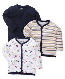 Babyhug Front Open Vest Pack Of 3 - Navy Blue And White