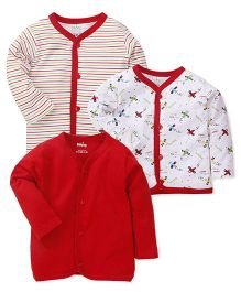 Babyhug Front Open Vest Pack Of 3 - Red And White
