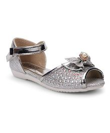 Cute Walk by Babyhug Party Wear Sandals Bow Motif - Silver