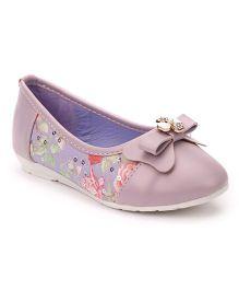 Cute Walk by Babyhug Party Wear Belly Shoes Bow Applique - Purple