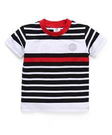 Watermelon Stripe Print T-Shirt - White & Red