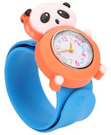 Analog Wrist Watch Panda Shape Dial - Blue Orange
