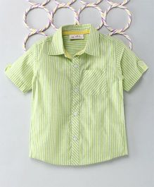 Popsicles Clothing By Neelu Trivedi Stripes Shirt With Patch Pocket - Green