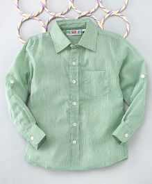 Popsicles Clothing By Neelu Trivedi Stripes Long Sleeves Shirt - Green