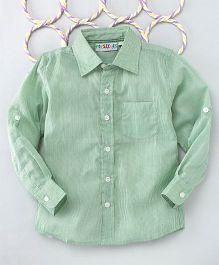 Popsicles Clothing By Neelu Trivedi Stripes Long Sleeves Shirt - Green
