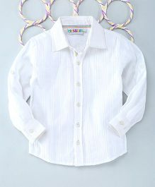 Popsicles Clothing By Neelu Trivedi Self Stripes Dobby Shirt - White