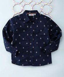 Popsicles Clothing By Neelu Trivedi Sail Boat Print Shirt - Navy Blue