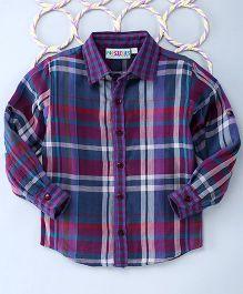 Popsicles Clothing By Neelu Trivedi Reversable Checks Shirt - Purple