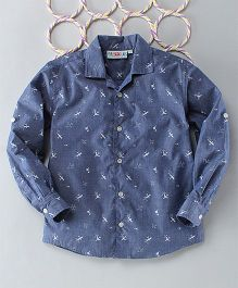Popsicles Clothing By Neelu Trivedi Airplane Print Shirt - Blue