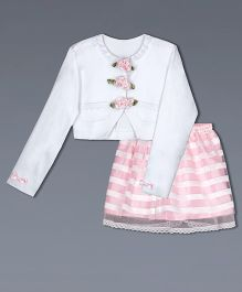 Shilpi Datta Som Flower Applique Jacket With Skirt - White & Pink