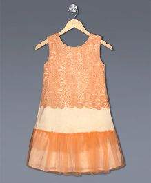 Shilpi Datta Som Flower Cutwork Dress Pleated At The End - Light Peach & Orange