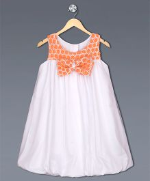 Shilpi Datta Som Flower Applique Fit & Flare Dress With A Bow - White & Orange