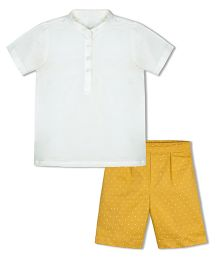 Shilpi Datta Som Polka Dot Shorts With Chinese Collar Tee - Yellow & Beige