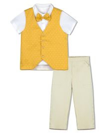Shilpi Datta Som Polka Dots Waist Coat & Pants Set - Yellow & Beige