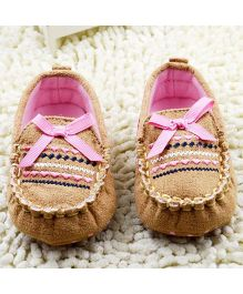 Bellazaara Casual Soft Sole Toddler Cotton Crib Shoes - Brown