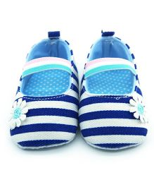 Bellazaara Crib Striped Soft Elastic Booties - Blue