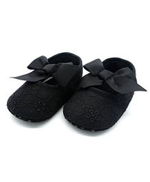 Bellazaara Ribbon Bow Knot Booties - Black