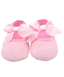 Bellazaara Ribbon Bow Knot Booties - Pink