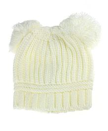 Bellazaara Dual Balls Warm Winter Knitted Cap - White