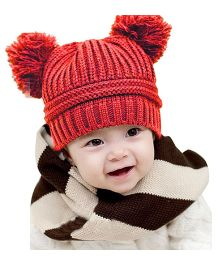 Bellazaara Dual Balls Warm Winter Knitted Cap - Red