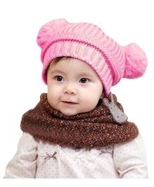 Bellazaara Dual Balls Warm Winter Knitted Cap - Pink