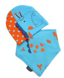 Bellazaara Soft Cotton Hedging Cap & Triangle Bibs Saliva Towel - Blue