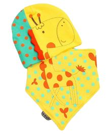 Bellazaara Soft Cotton Hedging Cap & Triangle Bibs Saliva Towel - Yellow
