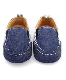 Bellazaara Denim Striped Shoes - Blue