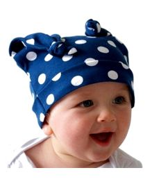 Bellazara Polka Dot Long Ears Knotted Cap - Blue
