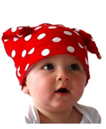 Bellazara Polka Dot Long Ears Knotted Cap - Red