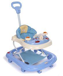Rabbit Print On Seat Musical Baby Walker - Blue Cream