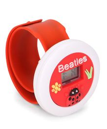 Digital Wrist Watch Lady bug Patch Dial - Red