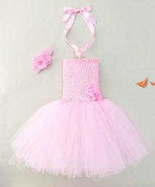 Adores Party Dress With Matching Headband - Light Pink