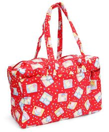 Mee Mee Diaper Bag With Bottle Holder Bear Print - Red
