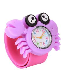 Slap Style Analog Watch Crab Design Dial - Purple Pink
