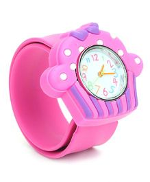 Analog Wrist Watch Ice-Cream Shape Dial - Pink Purple