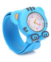 Analog Wrist Watch Tiger Shape Dial - Sky Blue
