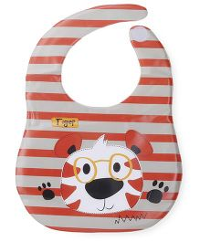 Abracadabra Stripes Printed Vinyl Bibs - Grey Red