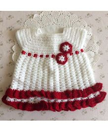 Buttercup From KnittingNani Flower Applique Fit & Flare Dress - White & Maroon