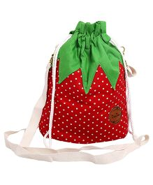 Needybee Dot Print Strawberry Pouch Bag With Strap - Red & Green