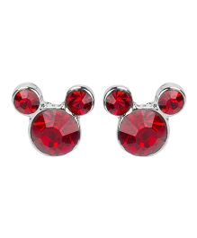 Needybee Cartoon Shaped Rhinestone Studded Stud Earrings - Red