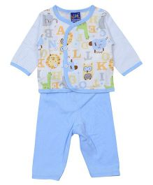 Lilliput Kids Top And Pant Set Alphabet Print - Blue