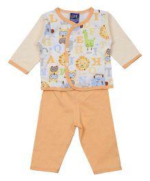 Lilliput Kids Top And Pant Set Alphabet Print - Orange