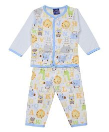 Lilliput Kids Top And Pant Set Animal Print - Blue White
