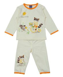 Lilliput Kids Kitty Print Top And Pant Set - Light Yellow